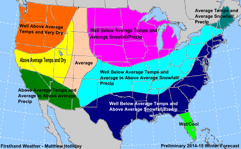 Winter Weather Forecast Prediction - Average snowfall map us