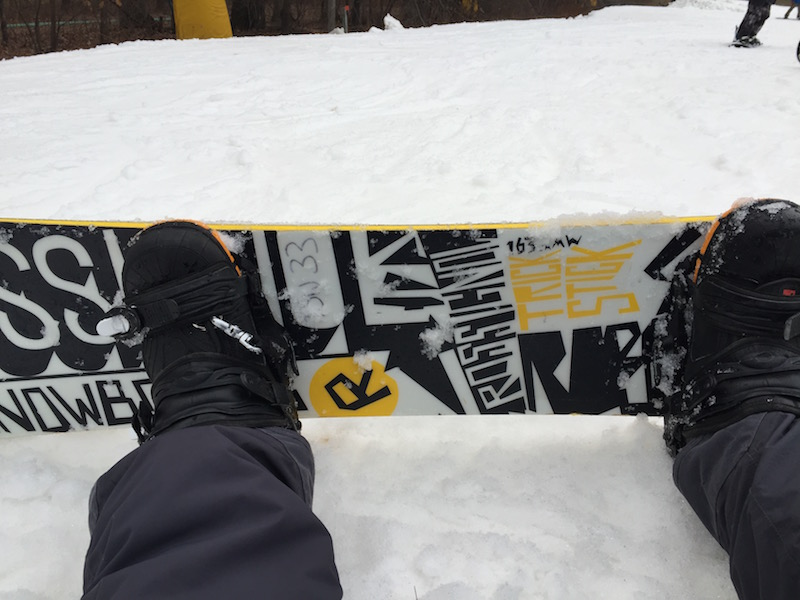 on-a-snowboard