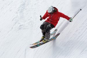 Skier on a steep slope