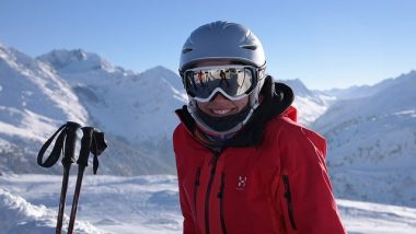 Woman with ski goggles on